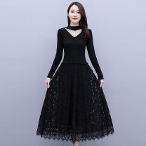 Dress / evening wear Weddings, adulthood parties, company annual meetings, daily appointments M L XL XXL Picture color grace Medium length middle-waisted Autumn 2020 Self cultivation Long sleeves Solid color Meng Jia Xian Yi routine Polyester 100% Pure e-commerce (online only)