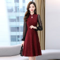 Dress / evening wear Weddings, adulthood parties, company annual meetings, daily appointments M L XL XXL XXXL Black jujube fashion Medium length middle-waisted Winter 2020 A-line skirt U-neck Hollowing out MJQY20X-1226-01 Long sleeves Solid color Meng Jia Xian Yi routine Polyester 100%