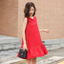 Dress / evening wear Weddings, adulthood parties, company annual meetings, daily appointments M L XL Red and black Sweet Middle-skirt Summer of 2019 A-line skirt MJQY19X1916 Sleeveless Solid color Meng Jia Xian Yi routine Polyester 100% Pure e-commerce (online only)