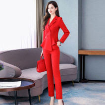 Dress / evening wear Weddings, adulthood parties, company annual meetings, daily appointments M L XL XXL XXXL White black big red emerald green rose purple Korean version Medium length middle-waisted Autumn of 2019 Self cultivation MJQY19Q8016 Long sleeves Solid color Meng Jia Xian Yi routine