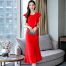 Dress / evening wear Weddings, adulthood parties, company annual meetings, daily appointments M L XL XXL Black red light yellow grace longuette High waist Summer of 2019 fish tail MJQY19X6998 Short sleeve Solid color Meng Jia Xian Yi Lotus leaf sleeve Polyester 100% Pure e-commerce (online only)