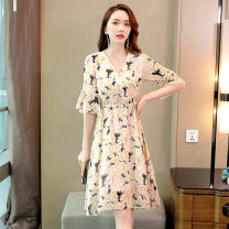 Dress Summer 2020 Green blue black M L XL XXL Mid length dress singleton  elbow sleeve Sweet V-neck middle-waisted Decor Socket A-line skirt Lotus leaf sleeve Others 25-29 years old Type A Meng Jia Xian Yi Pleated zipper printing More than 95% Chiffon polyester fiber Polyester 100% Mori
