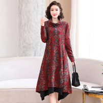 Dress / evening wear Weddings, adulthood parties, company annual meetings, daily appointments M L XL XXL XXXL 4XL Red green coffee Retro Medium length middle-waisted Autumn 2020 other stand collar cotton 36 and above MJQY20X-0821-05 Long sleeves Solid color Meng Jia Xian Yi routine