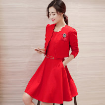 Dress Winter 2015 Black, scarlet M L XL XXL S XXXL Middle-skirt Two piece set Long sleeves commute Crew neck middle-waisted Solid color zipper A-line skirt routine Others 25-29 years old Type A Meng Jia Xian Yi Korean version Three dimensional decorative zipper with pleated pockets MJQY15Q2570