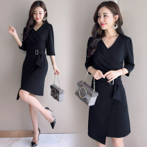 Dress / evening wear The company's annual convention performs daily appointments M L XL XXL XXXL black Korean version Medium length middle-waisted Autumn of 2018 A-line skirt U-neck zipper 18-25 years old MJQY18QB353 three quarter sleeve Solid color Meng Jia Xian Yi routine Polyester 100%