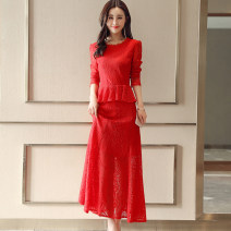 Dress / evening wear Weddings, adulthood parties, company annual meetings, daily appointments M L XL XXL Red black white Caramel Korean version Medium length middle-waisted Spring 2021 Self cultivation U-neck Hollowing out MJQY17DHBLJR6188 Long sleeves Embroidery Solid color Meng Jia Xian Yi routine