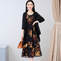 Dress Summer of 2018 Black Navy beige M L XL XXL XXXL Mid length dress Two piece set three quarter sleeve commute Crew neck middle-waisted Big flower Socket A-line skirt routine 25-29 years old Type A Meng Jia Xian Yi Korean version Pleated lace up printing MJQY18C601 More than 95% Chiffon