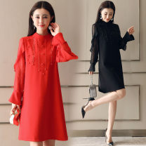 Dress / evening wear Weddings, adulthood parties, company annual meetings, daily appointments M L XL XXL Big red black Korean version Medium length middle-waisted Spring of 2018 Self cultivation 18-25 years old MJQY17D802 Long sleeves Nail bead Solid color Meng Jia Xian Yi routine Polyester 100%