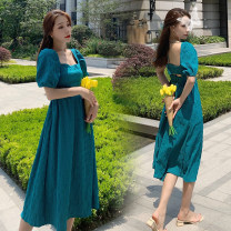 Dress Summer 2020 blue S,M,L,XL Mid length dress singleton  Short sleeve commute square neck High waist Solid color Socket Big swing puff sleeve Others 18-24 years old Type A Retro Tuck, open back, lace up HD224 31% (inclusive) - 50% (inclusive) other cotton