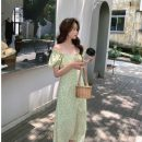 Dress Summer 2020 Floral short, floral long S,M,L Mid length dress singleton  Short sleeve commute square neck High waist Decor Socket A-line skirt puff sleeve Others Retro bow HD326 51% (inclusive) - 70% (inclusive) Chiffon other