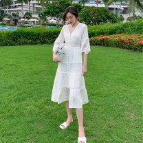 Dress Spring 2020 Off white S,M,L,XL longuette singleton  Long sleeves commute V-neck High waist Solid color Single breasted Big swing routine Others 25-29 years old Type A Retro Hollowing out HD32115 31% (inclusive) - 50% (inclusive) cotton