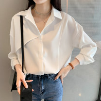 shirt S,M,L,XL,2XL Summer 2021 other 96% and above Long sleeves commute Regular Polo collar Single row multi button routine Solid color 18-24 years old Straight cylinder Korean version Button Chiffon