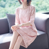 Women's large Spring 2021 Red Black Pink M L XL 2XL 3XL 4XL Dress Socket printing and dyeing Xinzhiyao 96% and above Middle-skirt Other 100% other