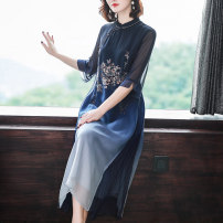 Women's large Spring 2021 Pink Blue L XL 2XL 3XL 4XL Dress singleton  commute Socket Retro printing and dyeing Xinzhiyao 40-49 years old 96% and above Middle-skirt Other 100% Pure e-commerce (online only) other other