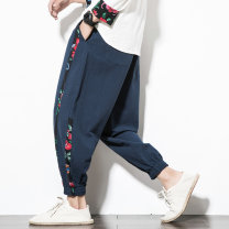 Casual pants Others Youth fashion Black, Navy M,L,XL,2XL,3XL,4XL,5XL routine Ninth pants Other leisure easy summer Large size Chinese style 2020 Other 100% Haren pants Color contrast washing hemp Cotton and hemp