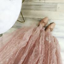 skirt Summer of 2019 Average size White, black, bean paste longuette A-line skirt