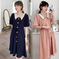 Nursing clothes Pink [lactation], dark blue [lactation], pink [regular], dark blue [regular] M,L,XL,2XL Socket summer Short sleeve Medium length Korean version Dress Solid color