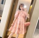 Nursing clothes Pink M,L,XL,2XL Socket summer Short sleeve Medium length leisure time Dress Solid color