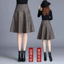skirt Winter 2020 M / 2 feet, L / 2 feet 1, XL / 2 feet 2, 2XL / 2 feet 3, 3XL / 2 feet 4, 4XL / 2 feet 5 Mid length dress High waist A-line skirt Zipper, stitching, printing