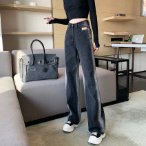 Jeans Spring 2021 Blue, black and gray S,M,L,XL trousers High waist Wide legged trousers routine 18-24 years old washing Cotton denim Dark color B123 81% (inclusive) - 90% (inclusive)