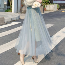 skirt Autumn 2020 S,M,L,XL Apricot, blue, black, gray, caramel Mid length dress commute High waist Fairy Dress Solid color Type A 18-24 years old 51% (inclusive) - 70% (inclusive) other other Korean version