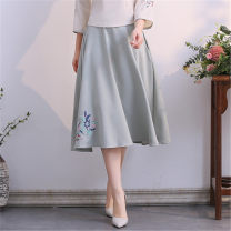 skirt Spring of 2019 Average size Graph color Mid length dress Versatile Natural waist other Solid color 18-24 years old 51% (inclusive) - 70% (inclusive) hemp