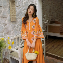 Dress Summer 2020 Orange S,M,L,XL Mid length dress singleton  Long sleeves commute V-neck Loose waist Abstract pattern Socket Irregular skirt pagoda sleeve Others 25-29 years old Type A Other / other ethnic style 31% (inclusive) - 50% (inclusive) other other