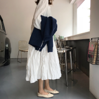 Dress Autumn of 2018 White, black Average size Mid length dress singleton  Long sleeves commute other Loose waist Solid color 18-24 years old Korean version More than 95% cotton