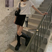 Fashion suit Spring 2021 Average size White love T-shirt, black pleated skirt s, black Pleated Skirt M, black pleated skirt L 18-25 years old 30% and below