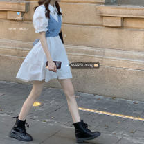 Dress Summer 2020 White shirt skirt, blue shirt skirt, light blue jeans sling, dark blue jeans sling Average size Mid length dress Two piece set Short sleeve commute Polo collar High waist Solid color Single breasted A-line skirt puff sleeve 18-24 years old Type A Korean version
