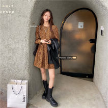 Dress Autumn 2020 Red, yellow Average size Mid length dress singleton  Long sleeves commute Crew neck High waist Broken flowers Socket A-line skirt routine 18-24 years old Type A Korean version printing 30% and below Chiffon