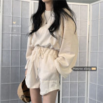 Casual suit Spring 2021 Black shorts , Grey shorts , Apricot shorts , Red shorts , Black top , Grey coat , Apricot top , Red top Average size 18-25 years old 30% and below