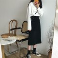 skirt Winter of 2018 Average size Dark grey, black Mid length dress commute High waist Solid color 18-24 years old 30% and below cotton Korean version