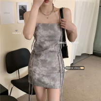 Dress Summer 2021 Short skirt singleton  Sleeveless commute High waist Decor Condom camisole 18-24 years old Type A Retro 30% and below S,M,L Picture color