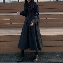 shirt black Shirt, skirt Autumn of 2019 other 96% and above Long sleeves commute Short style (40cm < length ≤ 50cm) Polo collar Single row multi button routine Solid color 18-24 years old Korean version