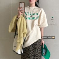 T-shirt Cream T, pitaya T, leopard Skirt M, leopard skirt s Average size Winter 2020 Long sleeves Crew neck easy Regular routine commute other 30% and below 18-24 years old Korean version letter printing