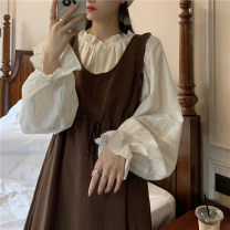 shirt Dress 9696, white shirt 9695 Average size Spring 2021 other 30% and below Long sleeves commute Medium length Single row multi button bishop sleeve Solid color 18-24 years old Straight cylinder Korean version
