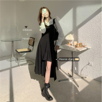 Dress Spring 2021 White shirt, suspender dress Average size Mid length dress Two piece set commute High waist Solid color Socket camisole 18-24 years old Type A Korean version 30% and below
