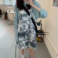 Dress Spring 2021 Long sleeve blouse, tie dyed back belt skirt Average size Middle-skirt singleton  Sleeveless commute Crew neck Loose waist Decor Socket One pace skirt routine Others 18-24 years old Type H Other / other Korean version straps 30% and below other