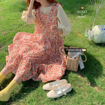 Dress Summer of 2019 Apricot bubble sleeve top, sleeveless floral skirt Average size longuette singleton  Sleeveless commute Loose waist Broken flowers Socket 18-24 years old Korean version