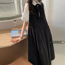 Dress Summer 2021 White (shirt), black (dress) Average size Mid length dress Two piece set Sleeveless commute Crew neck High waist Solid color straps 18-24 years old Type A Retro 30% and below