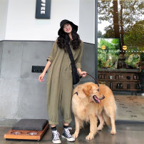 Casual pants Apricot army green Average size Autumn of 2018 trousers Overalls commute routine 18-24 years old 31% (inclusive) - 50% (inclusive) other