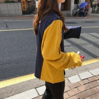 Sweater / sweater Autumn of 2018 Yellow blue Average size Long sleeves Socket Medium length singleton  routine Crew neck easy commute routine cotton