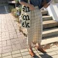 skirt Autumn of 2018 S M Beige Mid length dress commute High waist lattice 18-24 years old Korean version