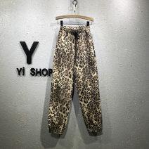 Jeans Spring of 2019 Khaki leopard, grey Leopard S,M,L,XL Ninth pants High waist Overalls routine Wash, zipper, button, multi pocket Thin denim Dark color 31% (inclusive) - 50% (inclusive)