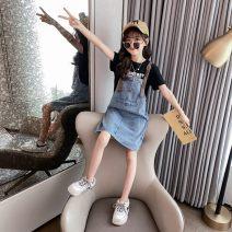 suit 0-3 Black, white 110cm,120cm,130cm,140cm,150cm,160cm,170cm female summer leisure time Solid color Denim Expression of love Class B 7, 8, 9, 10, 11, 12, 13, 14 Chinese Mainland