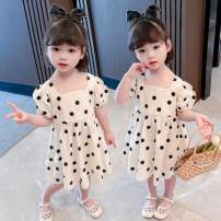 Dress Off white female Other / other 80cm,90cm,100cm,110cm,120cm,130cm Other 100% summer Korean version Short sleeve Dot cotton A-line skirt sly1001 Class B 12 months, 18 months, 2 years old, 3 years old, 4 years old, 5 years old, 6 years old, 7 years old Chinese Mainland Shanghai