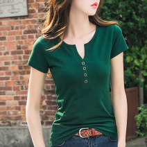 T-shirt S M L XL 2XL 3XL Summer of 2018 Short sleeve V-neck Self cultivation Regular routine commute cotton 86% (inclusive) -95% (inclusive) 40-49 years old Korean version classic Solid color According to her Cotton 95% polyurethane elastic fiber (spandex) 5% Pure e-commerce (online only)