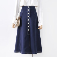 skirt Autumn 2020 S,M,L,XL blue Mid length dress commute High waist A-line skirt Solid color Type A 18-24 years old 91% (inclusive) - 95% (inclusive) other other Button Korean version