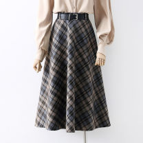 skirt Winter 2020 Average size Brown, black Mid length dress commute High waist A-line skirt lattice Type A 18-24 years old 91% (inclusive) - 95% (inclusive) other other Button Korean version